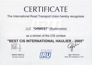 Orwest LLC is the Best CIS international haulier in 2005